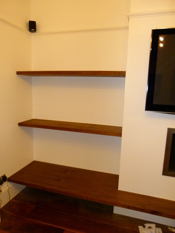 Potters-Bar-EN6 Walnut wall shelving