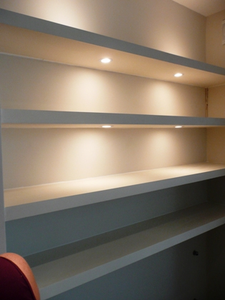 shelves and lights